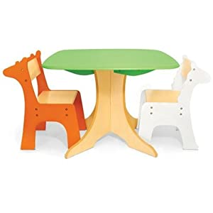 Pkolino Tree Table With Zebra And Giraffe Chairs from P'Kolino