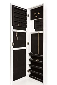 Jewelry Armoire Wall Mount, Hanging Over the Door Jewelry Armoire with Mirror, Locking Jewelry Armoire White Cabinet with Lock for Added Safety, Security. Safely Lock Store Jewelry. Jewelry Organizer, Holder. Necklaces, Bracelets, Earrings Organizer.
