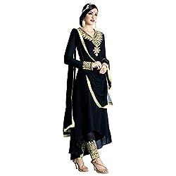 Bhelpuri Women Black Georgette Semi-stitched Salwar Kameez