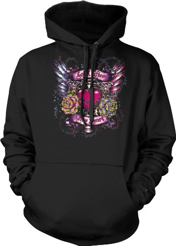 Look After My Heart Mens Tattoo Sweatshirt, Heart With Flowers Wings And Chains Old School Love Tattoo Design Hoodie, X-Large, Black
