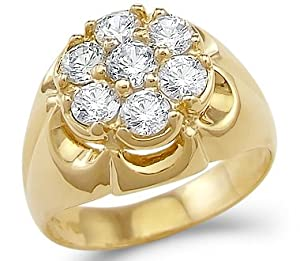 Size- 5 - Solid 14k Yellow Gold Mens Large Fashion CZ Cubic Zirconia Ring New