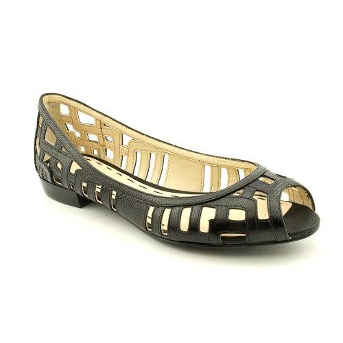 Nine West Jyana Peep Toe Flats Shoes Black Womens