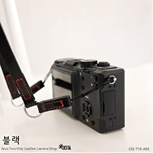 Ciesta CSS-T10-A03 Leather Camera Strap Arco Two-Way (Black) for Toy Camera DSLR Mirrorless RF Camera Leica