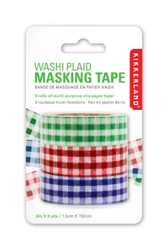 Image of Kikkerland Plaid Washi Masking Tape, Set of 3 Rolls (ST30)
