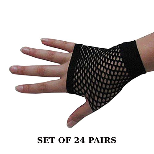 Set of 6 or 24 Pair Dramatic Fishnet Mitts Gloves - Go Wild With Color