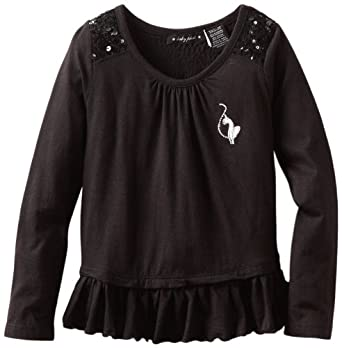 Baby Phat Girl's 2-6x Longsleeve Tunic with Ruffles, Black, 5/6