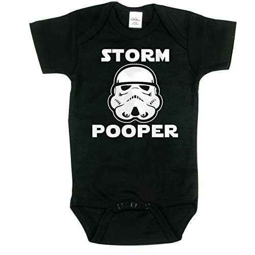 Funny Baby Clothing, Storm Pooper Onesie, Star Wars Inspired, Black 0-3 mo