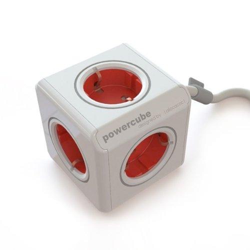 Allocacoc PowerCube Extended Steckdosenleiste (5x Verteiler, 230V Schuko) rot