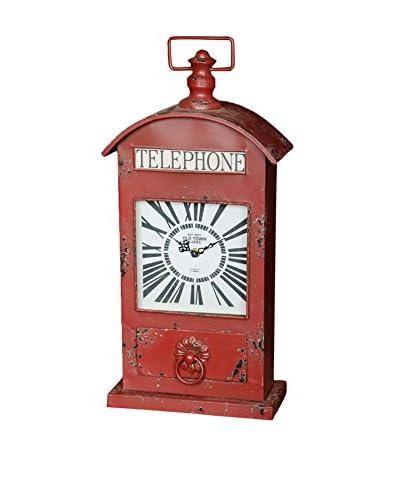 Red Booth British Telephone Clock
