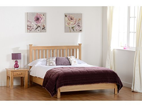 Seconique Stratford Solid Oak Double Bed 4ft6 - Low Foot End or High Foot End (Low Foot End)