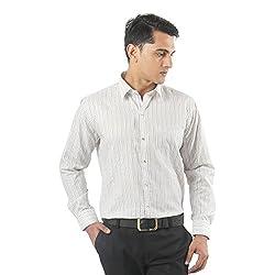 ZIDO Green Blended Men's Striped Shirts PCFLX1284_Green_50