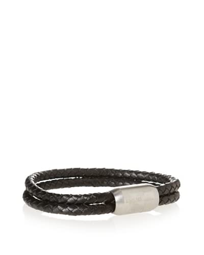 Stephen Oliver Men's Black Leather Double Row Bracelet