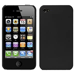 Ultra Slim BLACK RUBBERIZED HARD SKIN CASE FOR APPLE IPHONE 4 4G