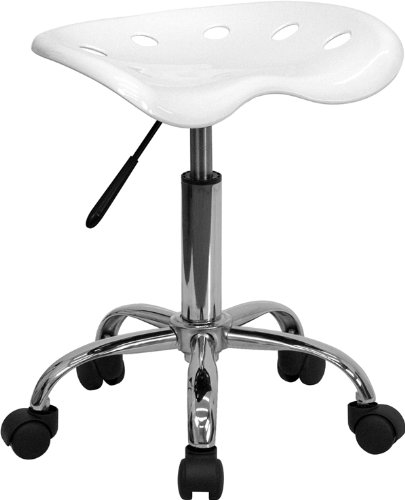 Flash Furniture Lf-214A-White-Gg Vibrant White Tractor Seat And Chrome Stool