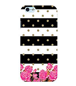 Black and White Layer Pattern with Flowers 3D Hard Polycarbonate Designer Back Case Cover for Apple iPhone 6