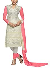 Sara Fashion Women's Georgette Unstitched Dress Material (Off-White and Pink)
