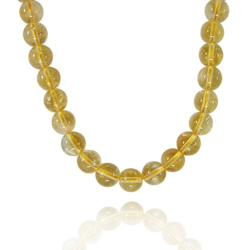 8mm Round Inclusion Citrine Bead Necklace, 50