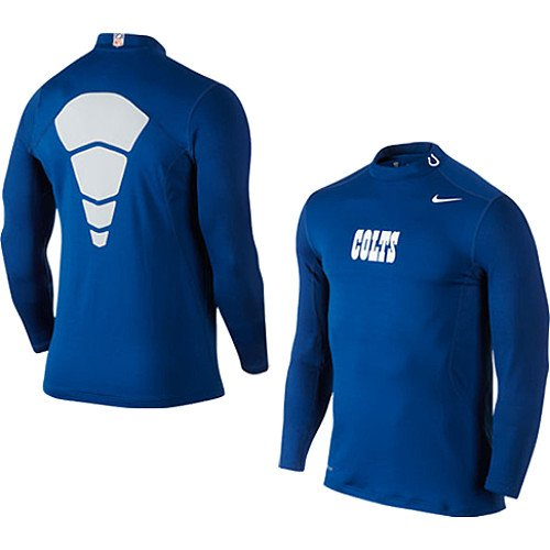 Nike Indianapolis Colts Hyperwarm Long Sleeve Mock Turtleneck T-Shirt - Royal Blue at Amazon.com