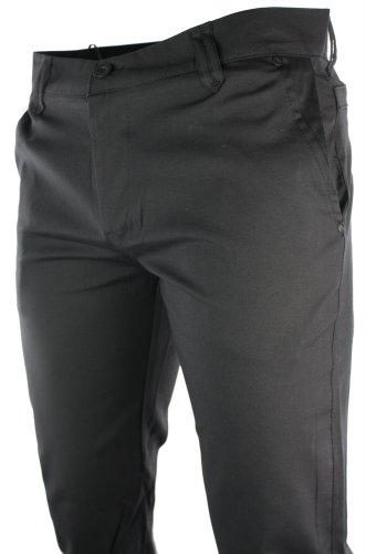 Mens Slim Fit Trousers Black Back Pocket Design Italian Smart