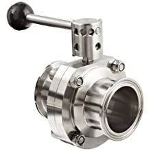 "Dixon B5101S200CC-A Stainless Steel 316L Butterfly Valve with Pull Handle and Silicone Seal, 2"" Tube OD"