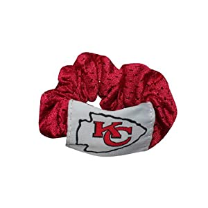 NFL Womens / Girls Kansas City Chiefs Hair Accessories / Elastic Hair Scrunchie & Ornaments - Red