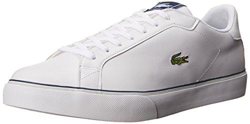 Lacoste Men's Marling Low Sneaker,White/Dark Blue,10 M US