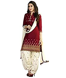 V-Kart Women's Polyester Unstitched Dress Material (vkart_206_Maroon_Free Size)