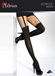 Ladies Patterned Tights Monique Mock Suspender 40 Denier Sensual and Elegant sizes 2/S , 3/M , 4/L (S, Lion)