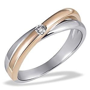 Goldmaid - Pa R4188RG58 - Bague Femme - Or Bicolore 585/1000 (14 ct) 3.8 Gr - Diamant 0.05 ct - T 58