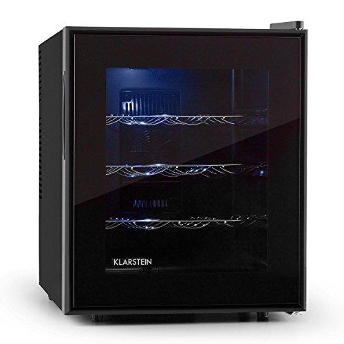 Klarstein Barolo Cantinetta Frigo mini frigo per Vino CLASSE ENERGETICA A (48 Litri, 16 Bottiglie, 3 ripiani estraibili, illuminazione interna LED)