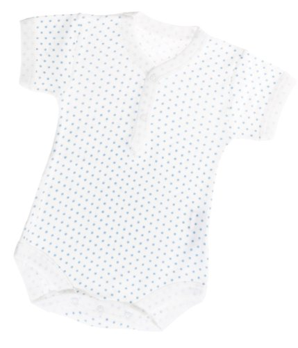 """Kid U Not"" Baby Boys Blue Polka Dot S/S V-Neck Henley Onesies. (0 (0-6 Months))"