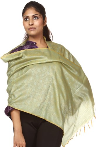 Exotic India Yellow-Green Banarasi Scarf with Tanchoi Weave – Yellow