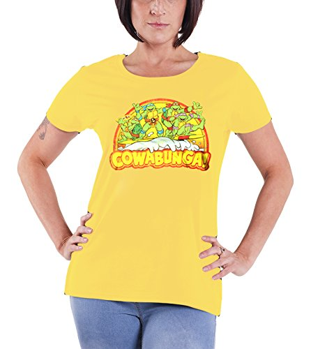 Officially Licensed Merchandise TMNT - Cowabunga Girly T-Shirt (Yellow), Large (Yellow Ninja Turtle Shirt compare prices)
