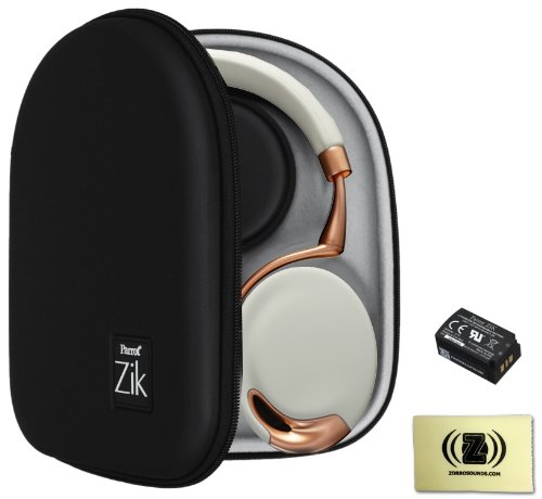 Parrot Zik Touch-Activated Bluetooth Headphones (Rose/Gold) Bundle With Parrot Zik Black Case, Parrot Zik Battery (3.7V - 800Mah) And Custom Designed Zorro Sounds Cleaning Cloth