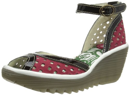 Fly London Womens Perf Fashion Sandals P500477012 Ruby/Black/OffWhitehite 5 UK, 38 EU