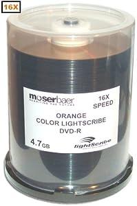 MBI 16X 4.7GB *ORANGE ONLY* COLOR Lightscribe Direct Disc Labeling DVD-R's 100-Pak in Cakebox