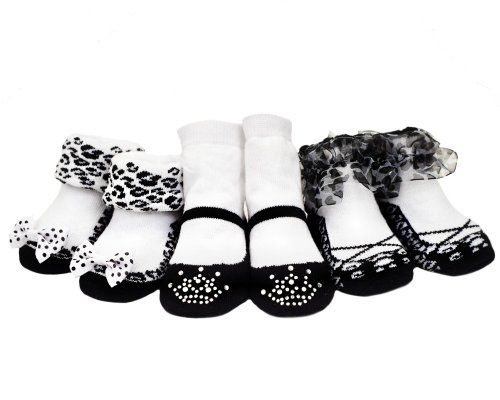 3 Pair of Black Baby Girl Party Socks- 0-6 months -Baby Emporio