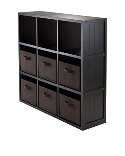 Luxury Home Contemporary 9-Cubby Storage Unit with 6 Baskets, Black/Chocolate