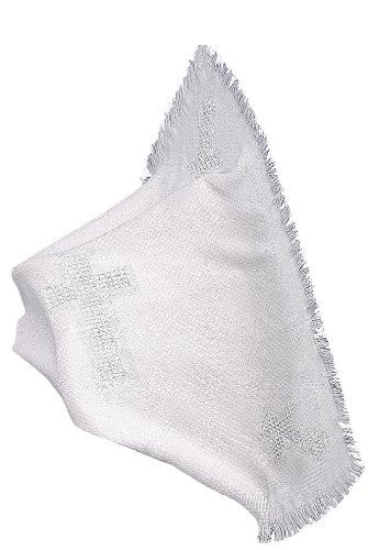 Lauren Madison boy girl Christening Baptism Unisex Infant Knit Blanket, White, One Size