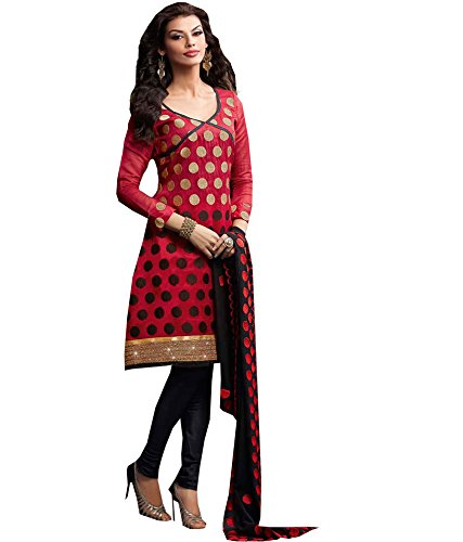 Red Thecoolio Womens Cotton Red Dress Material (Multicolor)