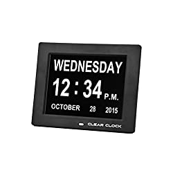 Clear Clock Extra Large Digital Memory Loss Day Clock With Non Abbreviated Day Dementia Clock Black