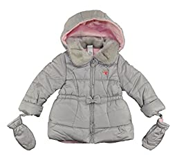 Little Me Baby Girls Grey & Pink Outerwear Coat W/Mittens (18M)