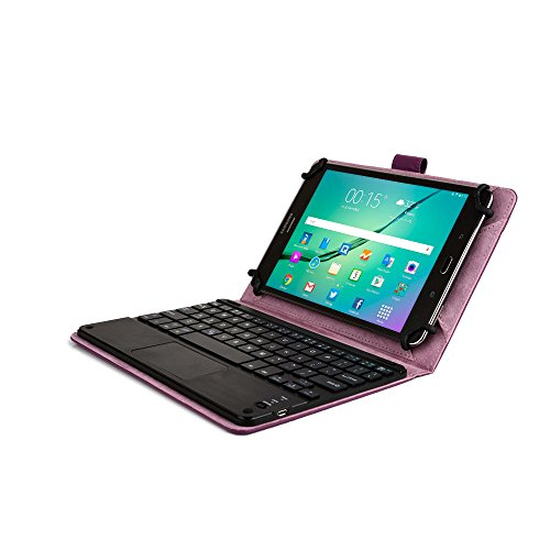 Dell Venue 8 / New 2014 Edition / Pro Keyboard case, COOPER TOUCHPAD EXECUTIVE Bluetooth Detachable QWERTY Wireless Keyboard Carrying Case Tablet Cover Folio with Stand (Purple)