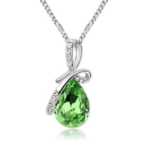 Mqueen Peridot Green Love Teardrop Pendant Necklace front-422550