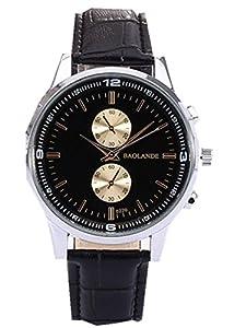 Dreaman Unisex Business Numerals Faux Leather Analog Quartz Watch Black