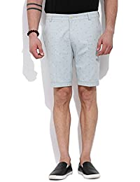 Mr Button The Soothing Lake Cotton Shorts For Men, Structured Fit, 100% Premium Mercerised Cotton Fabric Fabric...