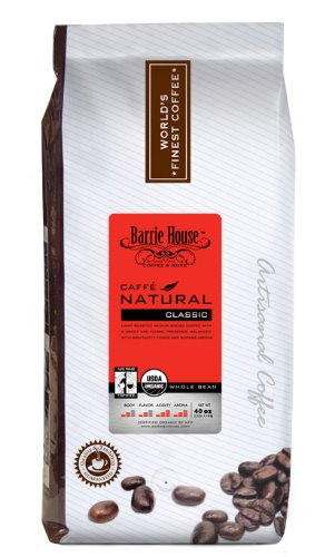 Barrie House Coffee Fair Trade Organic Caffé Natural Classic Coffee Whole Bean 2.5 lb. Bag
