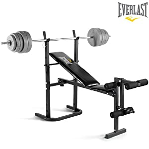 Everlast Foldable Weight Bench 40kg Barbell Weight Set Toys Games