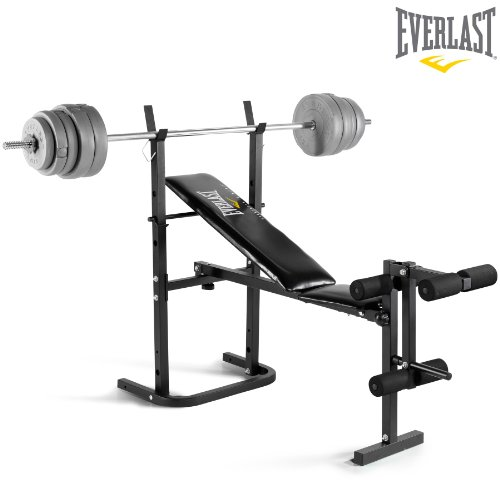 Everlast Foldable Weight Bench & 40kg Barbell Weight Set