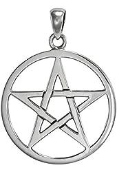 Large Sterling Silver Pentagram Pentacle Pendant for men women Wiccan Jewelry
